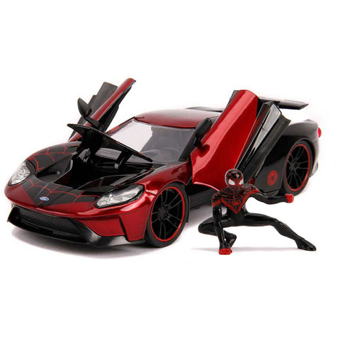 Marvel 1:24 2017 Ford GT Die-cast Car with Miles Morales Spider-Man Figure