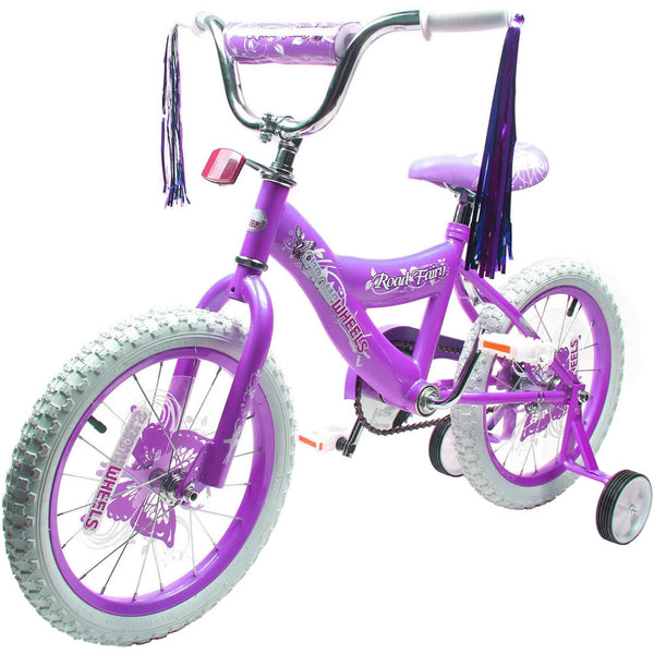 "Chrome Wheels Road Star 16"" Bicycle with Training Wheels, Purple"