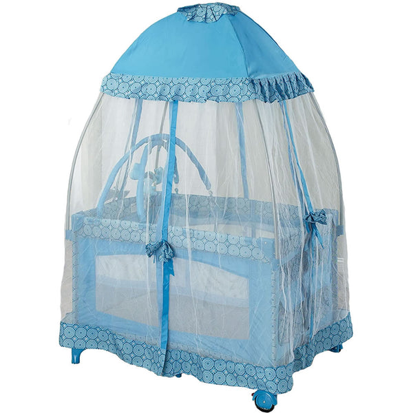 Big Oshi Playard with Mosquito Net & Carry Bag - Light Blue