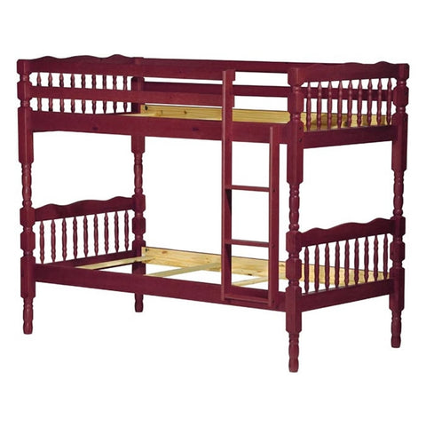 Palace Imports Arlington Twin over Twin Bunk Bed W/8 Slats - Mahogany Finish
