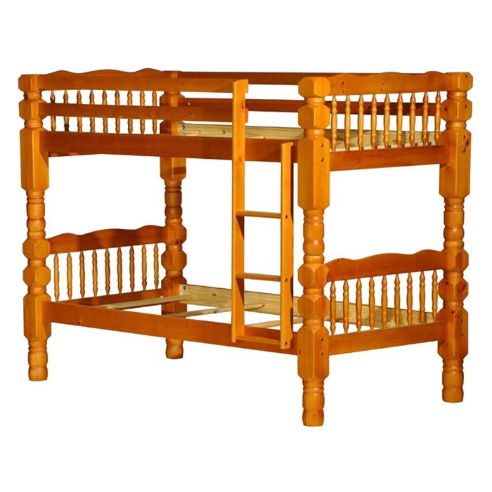 Palace Imports Woodbridge Twin over Twin Bunk Bed W/8 Slats - Honey Finish