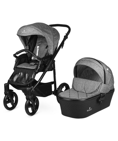 Venicci Shadow Stroller with Bassinet - Denim Grey/Black Frame
