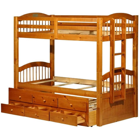 Palace Imports Triplet Bunk Bed with Trundle and 3 Drawers - Honey Finish
