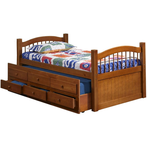 Palace Imports York Twin Bed with Trundle and 3 Drawers - Honey Finish