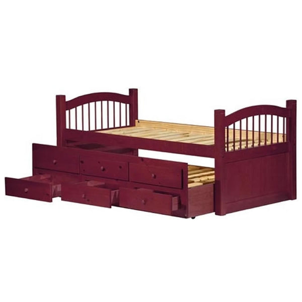 Palace Imports York Twin Bed with Trundle and 3 Drawers - Mahogany Finish