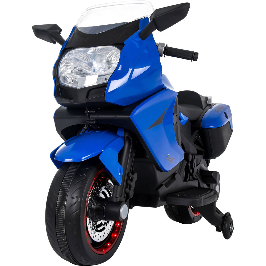 Ride On 12V 7A Battery 2 Motors Powered Electric Motorcycle for Kids - Blue