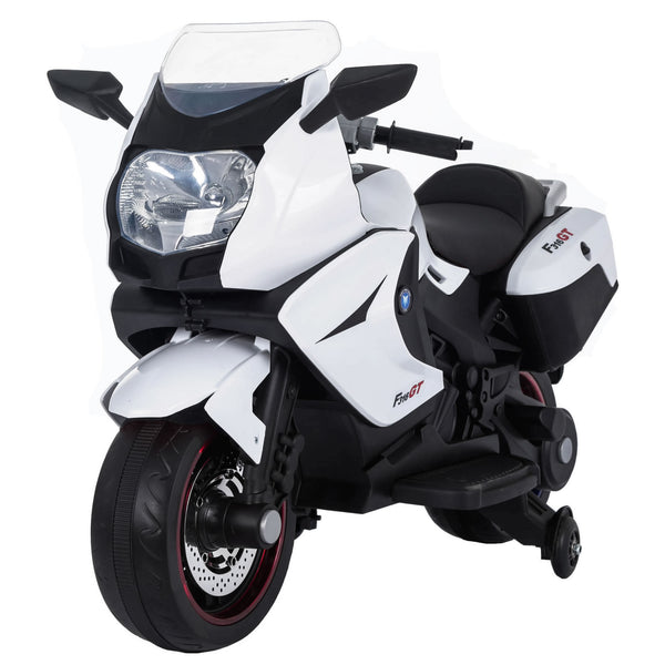 Ride On 12V 7A Battery 2 Mptors Powered Electric Motorcycle for Kids - White