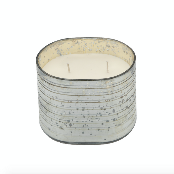 40oz French Vanilla Candle on Silver striped glass