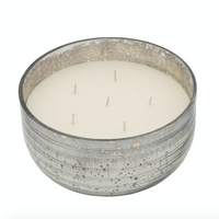 78oz French Vanilla Candle on Silver striped glass