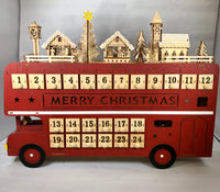LED Wooden Advent Calendar Bus