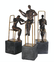 Set/3 Polyresin Musicians on base, Black/Gold