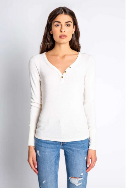 Long Sleeve Top Textured Stone