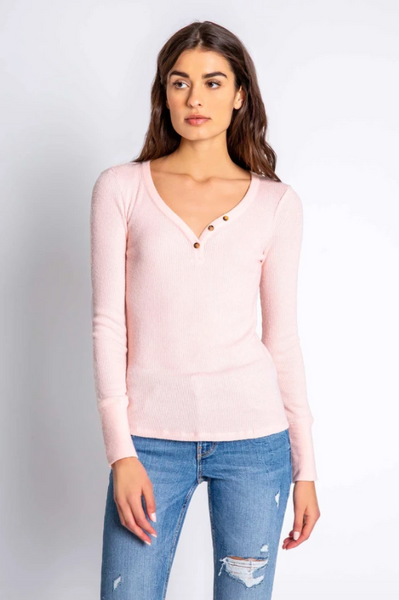 Long Sleeve Top Textured Blush