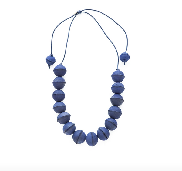 Blue Leather Bead Adjustable Necklace