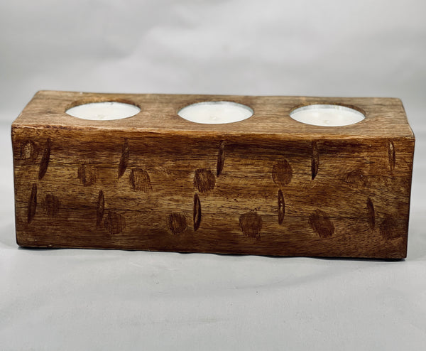 Three Hole Wood Candle