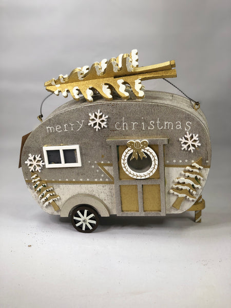 Wooden Caravan with Lights