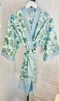Green and blue flowers kimono