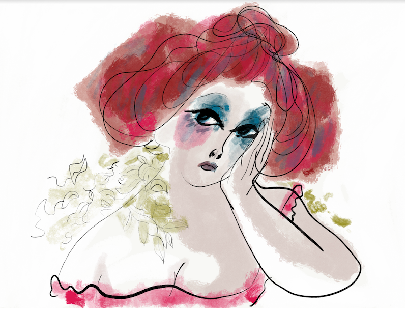 Illustration of a sad woman with Red hair by Steph Choi