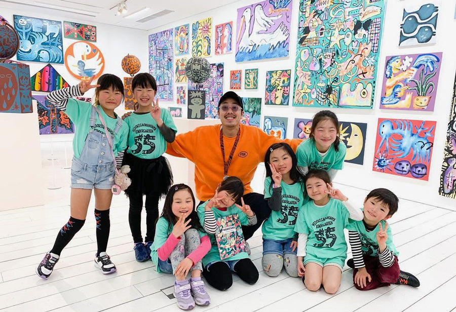 Kentaro Okawara with kids at A/D Gallery in Roppongi Hills Tokyo
