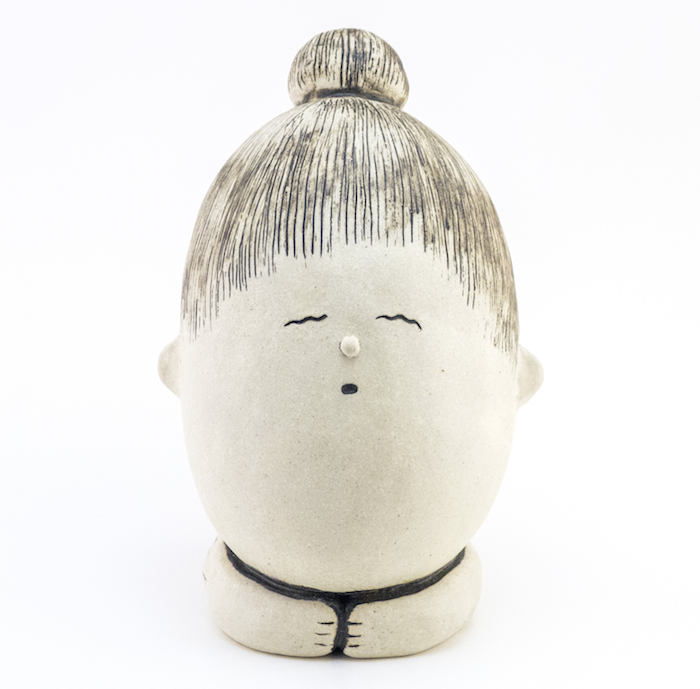 Handbuilt Ceramic Sculpture of a Girl Meditating