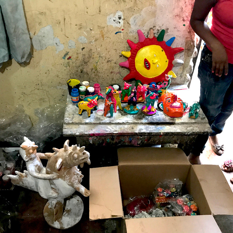Serapio Medrano's painting table in his home in Tonala.