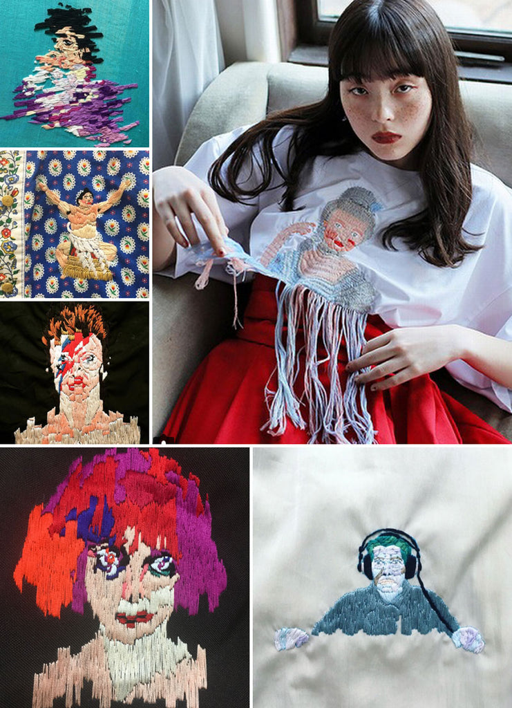 Embroidery art on clothing by Sawako Ninomiya