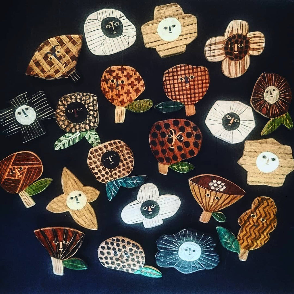 Beautiful wooden pins