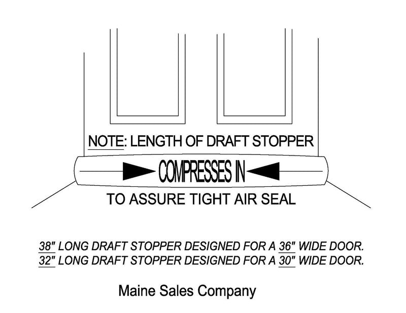 "Door Draft Stopper - Unscented Buckwheat Hulls – Green Beans – 4"" x 38"" (for a 36"" Space)"