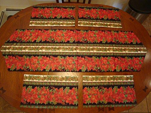 "Fall/Winter Two Sided - Reversible - Table Runner 52"" x 16"" & Placemat 17"" x 9.75"" Set (4) Crafted in Maine"