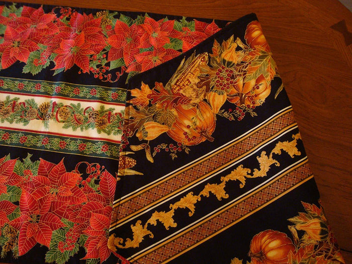 "Table Runner 2-sides - Reversible - Heirloom Quality 52"" Long - Member Maine Crafters Association"