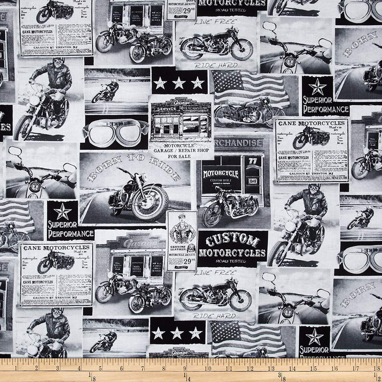 Timeless Treasures Vintage Motorcycles News Fabric - Choose 1/4 or 1/2 yard