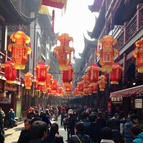 A busy lantern lined street during the festival