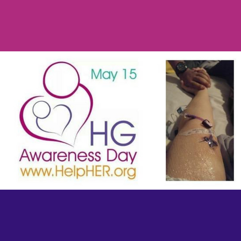Banner with www.helpher.org logo [pink heart with head symbolizing mother, purple heart with head symbolizing baby inside of mother. Text- May 15 HG Awareness Day www.helpher.org] photo of authors arm with pic line, hand being held by supportive caregiver wearing a watch.