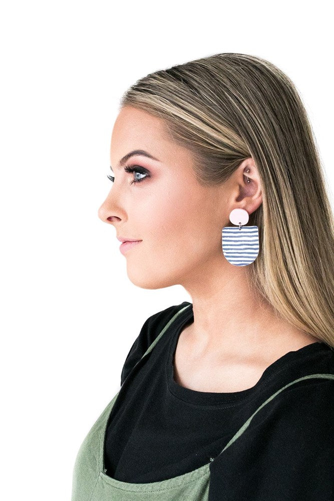Kate Earrings - Pink and Stripe
