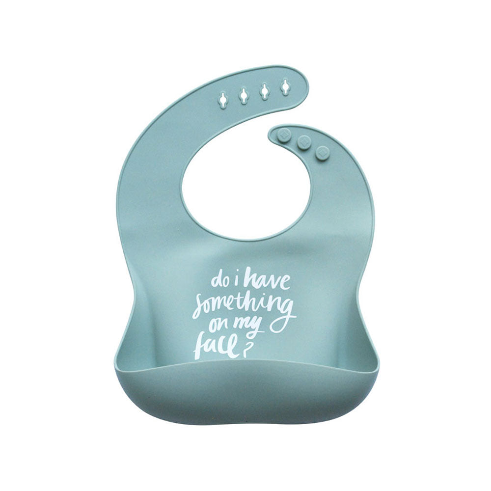 Silicone Baby Bib - Something on my Face (Sage)