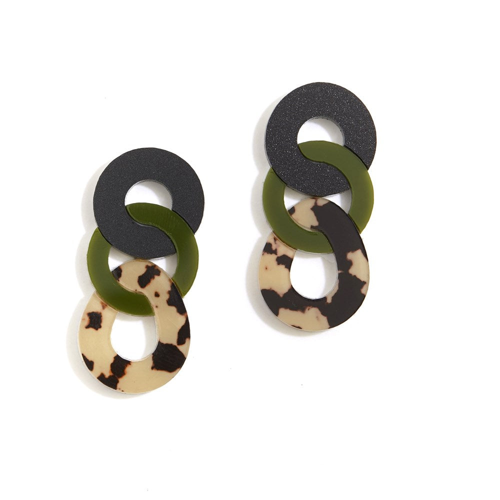 Braid Earrings - Olive and Leopard