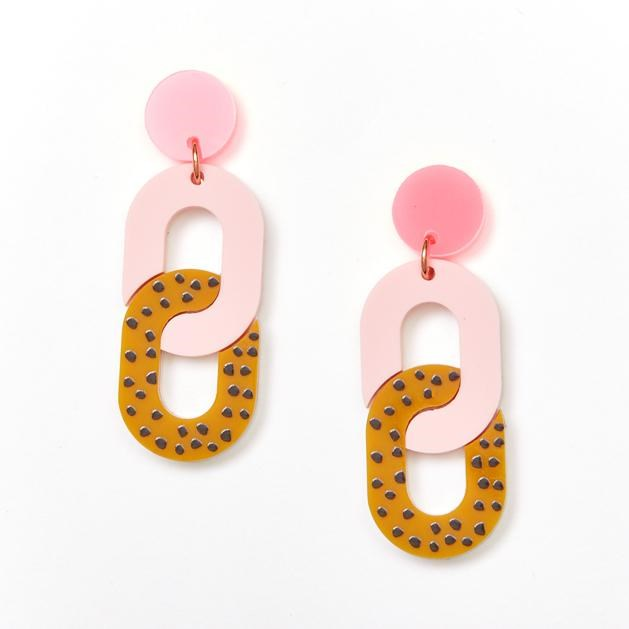 Chain Earrings - Pink and Mustard