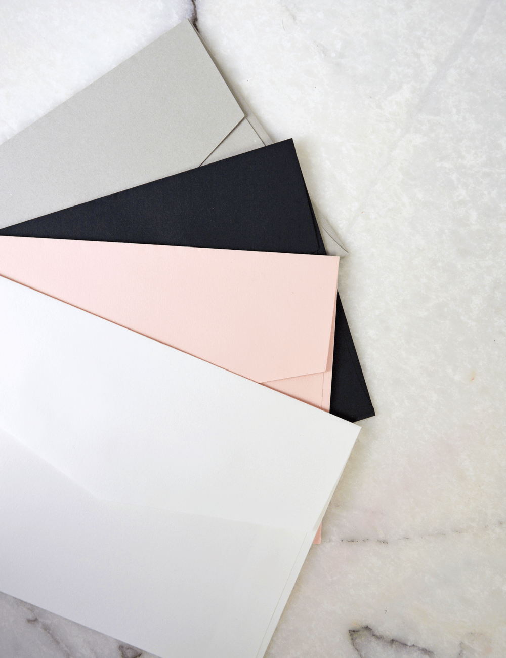 Wedding envelope card colours, grey, black, pink, white