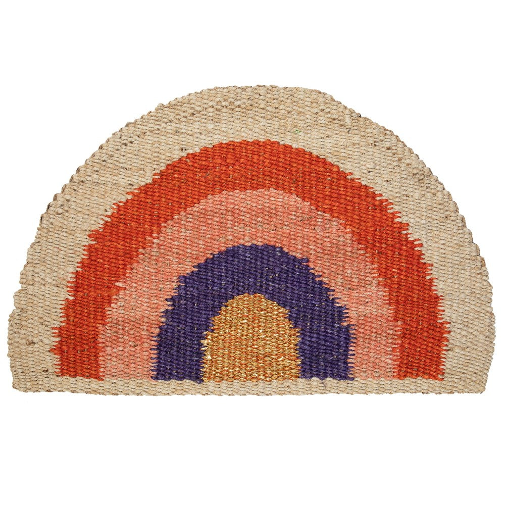 Rainbow Doormat - Red/Coral/Purple/Natural/Gold