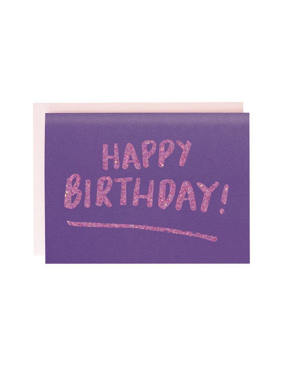 Happy Birthday Brush Purple foiled greeting card