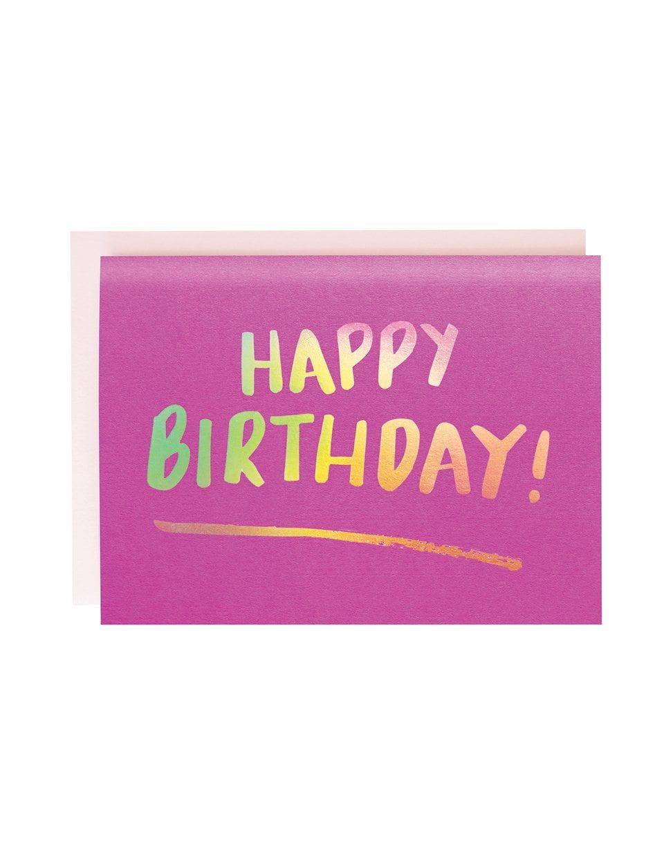 Happy Birthday Brush Pink foiled greeting card