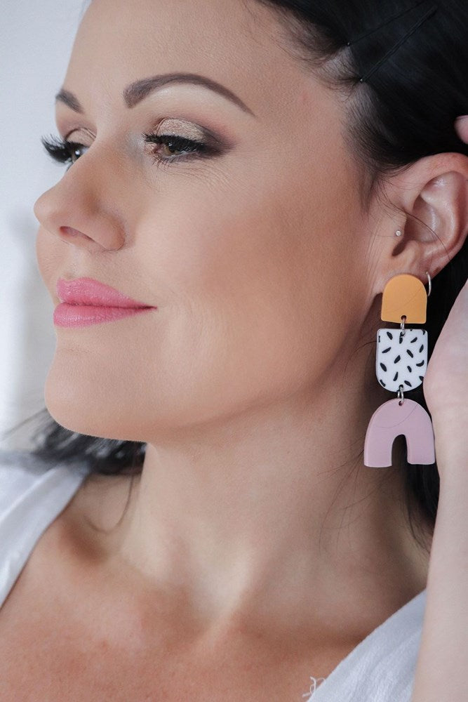 Brittnee Earrings - Yellow, Spot and Pink