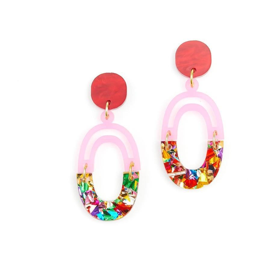 Link Earrings - Rainbow Glitter
