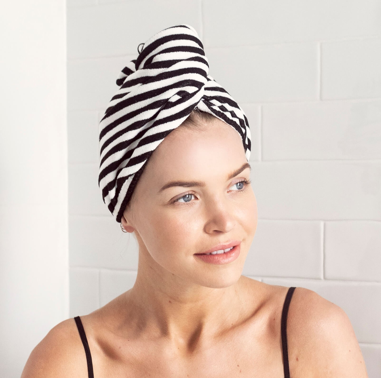 Riva Towel Wrap - Monochrome Stripe