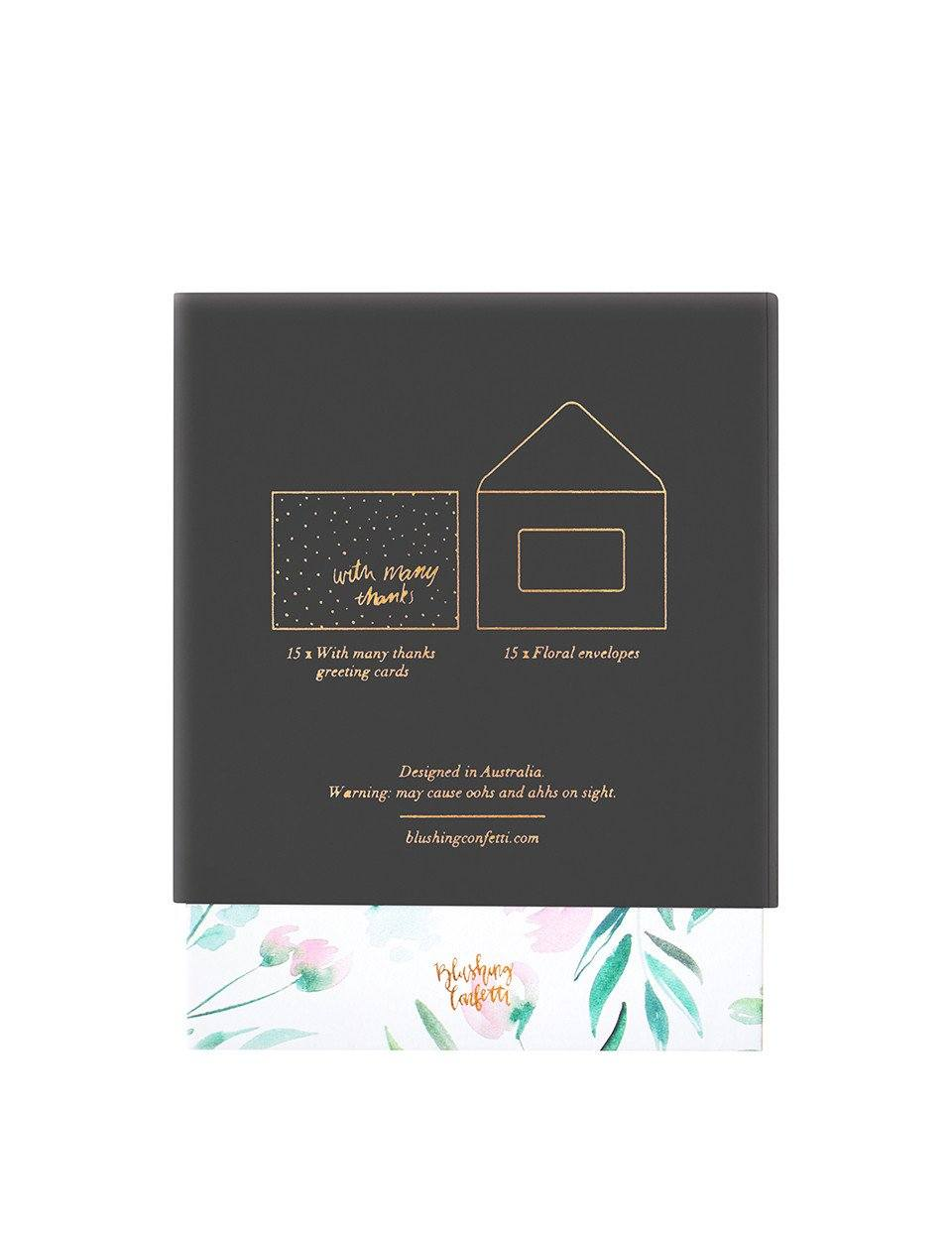 Thank You Card Pack: Floral & Rose Gold | Blushing Confetti