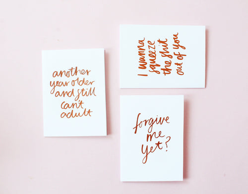 Forgive Me Yet? foiled greeting card