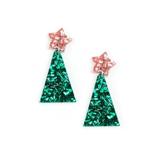PRE-ORDER - Christmas Tree Earrings - Pink and Green
