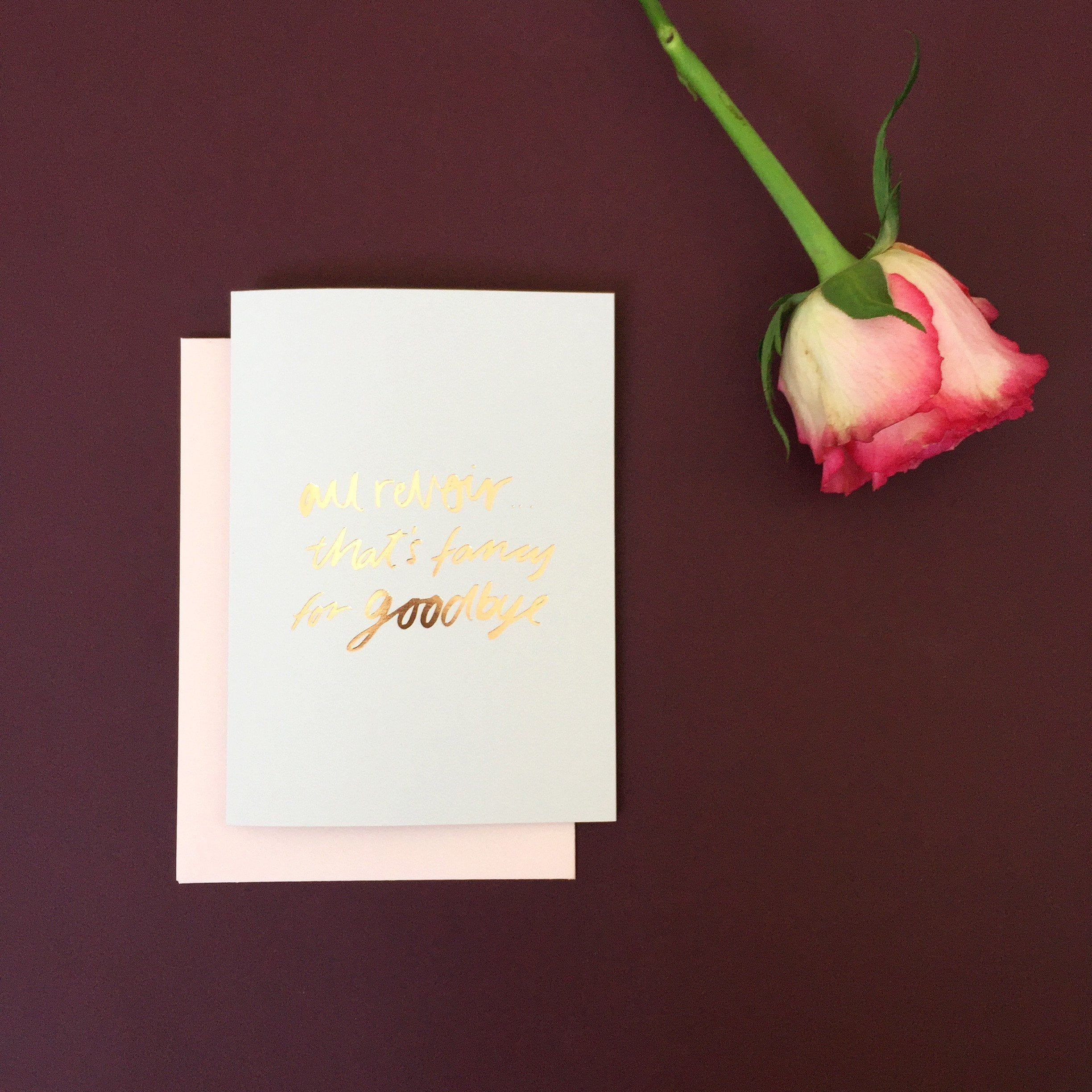 Au Revoir Greeting Card | Blushing Confetti