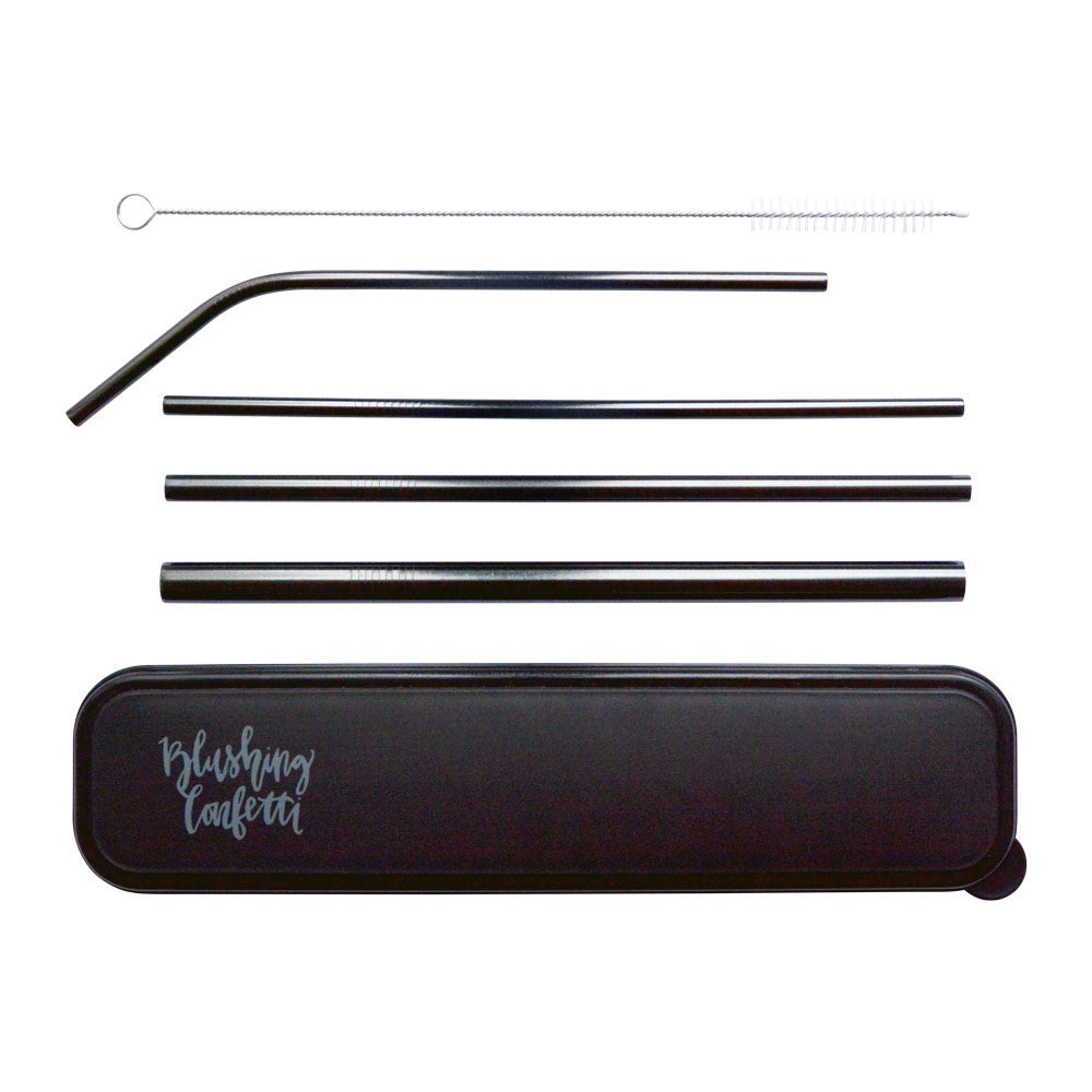 On The Go Straw Set - Black