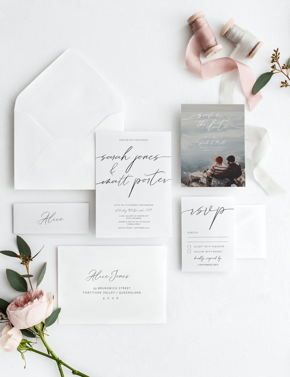 Wedding Invitation Set - Formal invite, RSVP, Save the Date, Envelope
